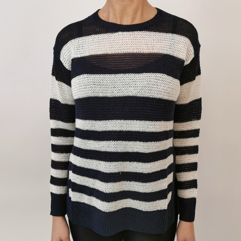 POLO RALPH LAUREN - Stripped linen sweater - Navy/White