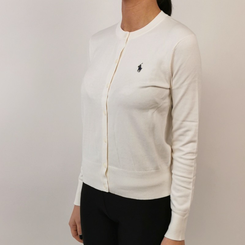 POLO RALPH LAUREN - Cardigan in cotone con logo - Crema