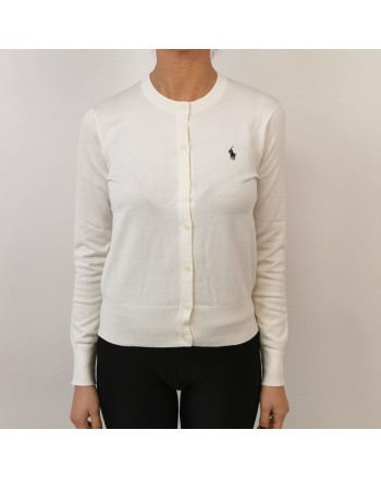 POLO RALPH LAUREN - Cotton cardigan with logo - Cream