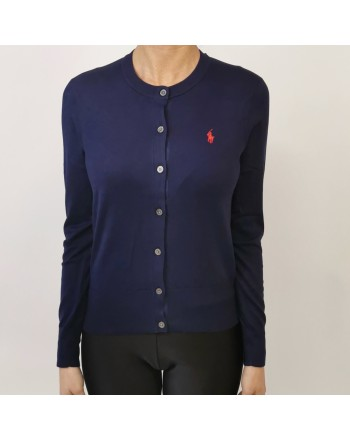 POLO RALPH LAUREN - Cardigan in cotone con logo - Navy