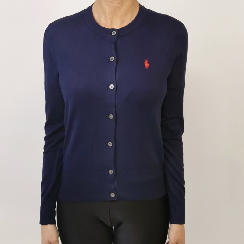 POLO RALPH LAUREN - Cotton cardigan with logo - Navy