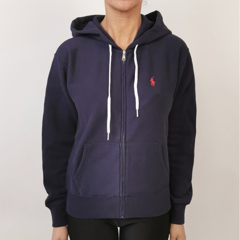 POLO RALPH LAUREN - Cotton sweatershirt with hood - Navy