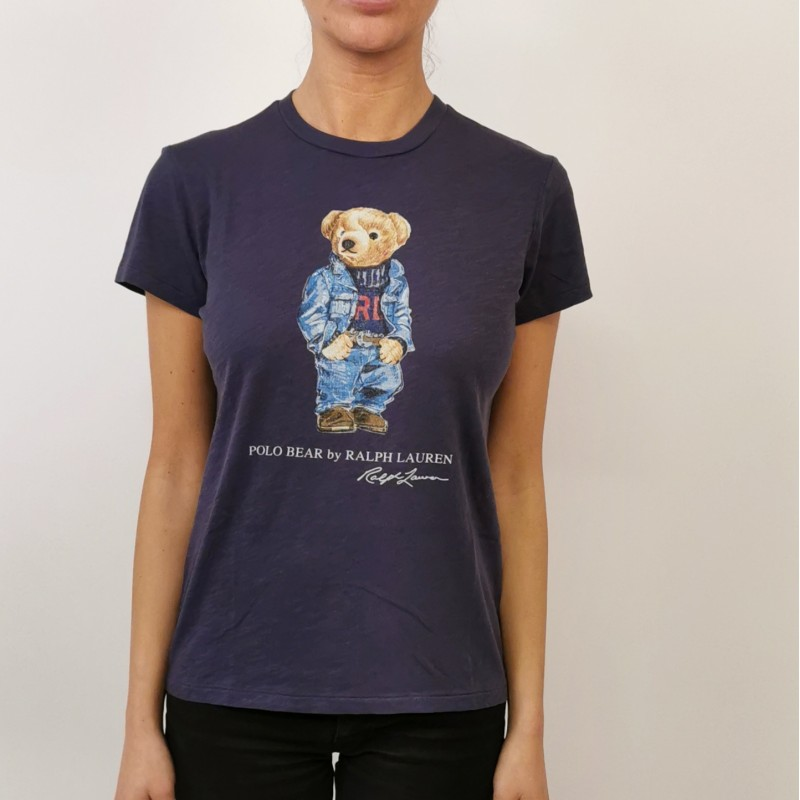 POLO RALPH LAUREN - T-Shirt in Cotone POLO BEAR - Blu