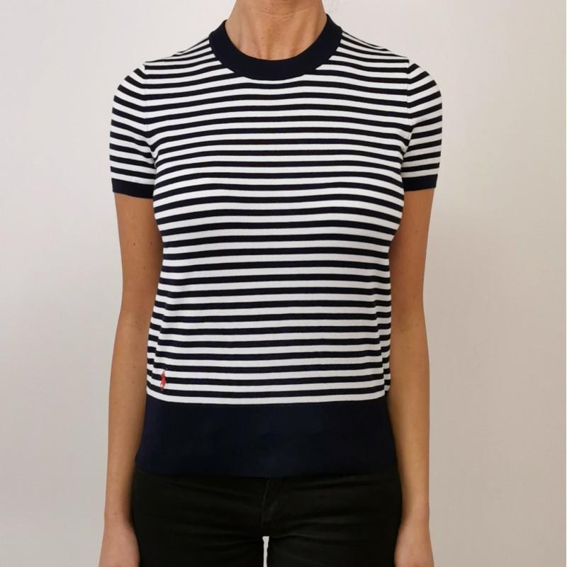 POLO RALPH LAUREN - T-Shirt in Cotone  Filo Rigatino - Navy/Bianco