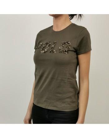 POLO RALPH LAUREN - T-Shirt in Cotone con Logo in Paillettes- Militare