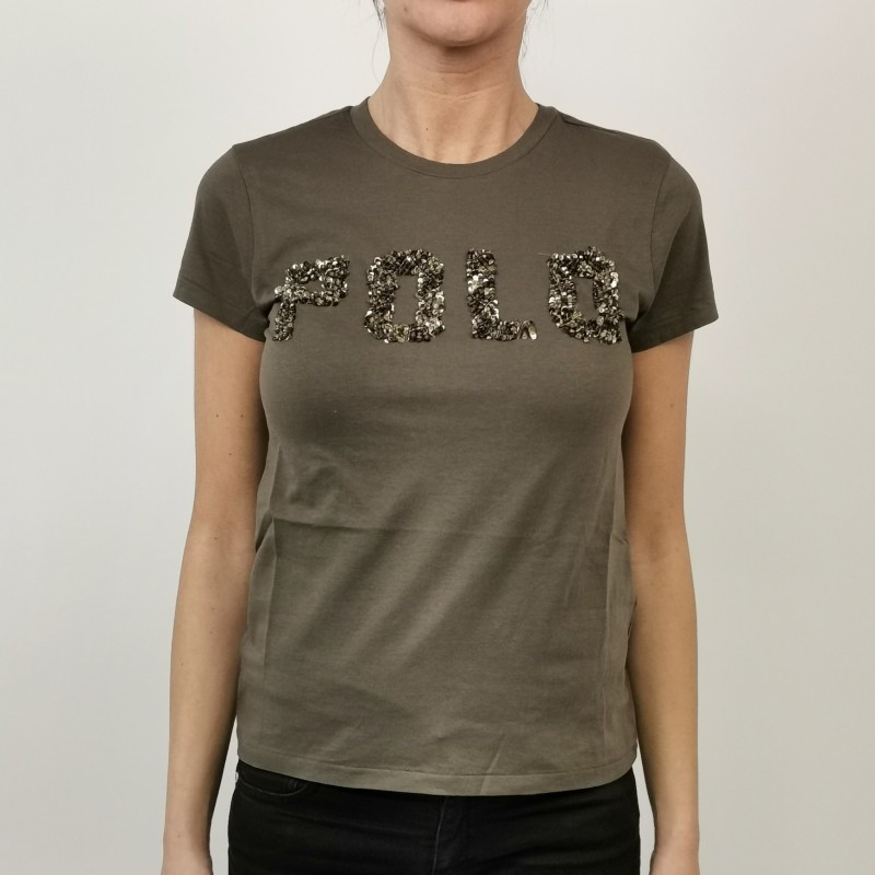 POLO RALPH LAUREN - Cotton T-Shirt with Paillettes Logo - Military Green