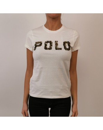 POLO RALPH LAUREN - Cotton T-Shirt with Paillettes Logo - Snow