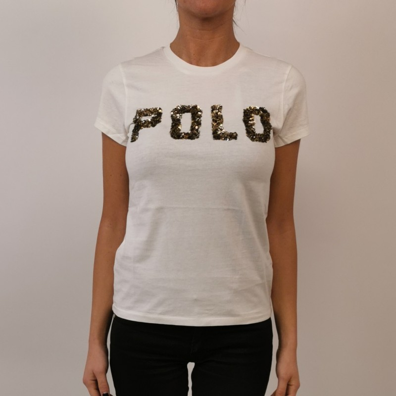 POLO RALPH LAUREN - T-Shirt in Cotone con Logo in Paillettes- Neve
