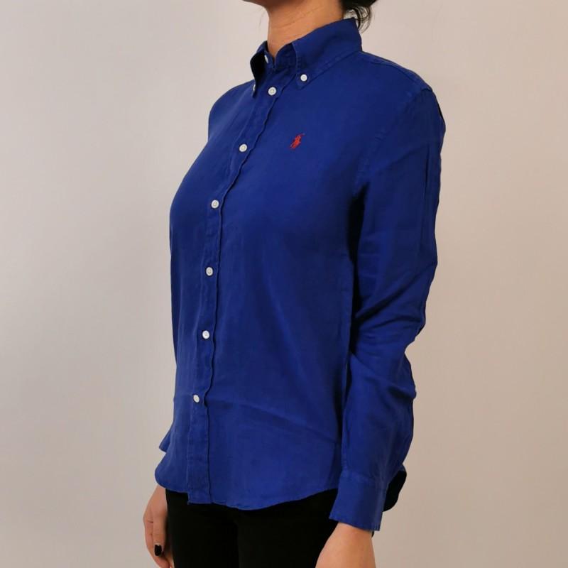 POLO RALPH LAUREN - Linen Shirt with Logo - Royal
