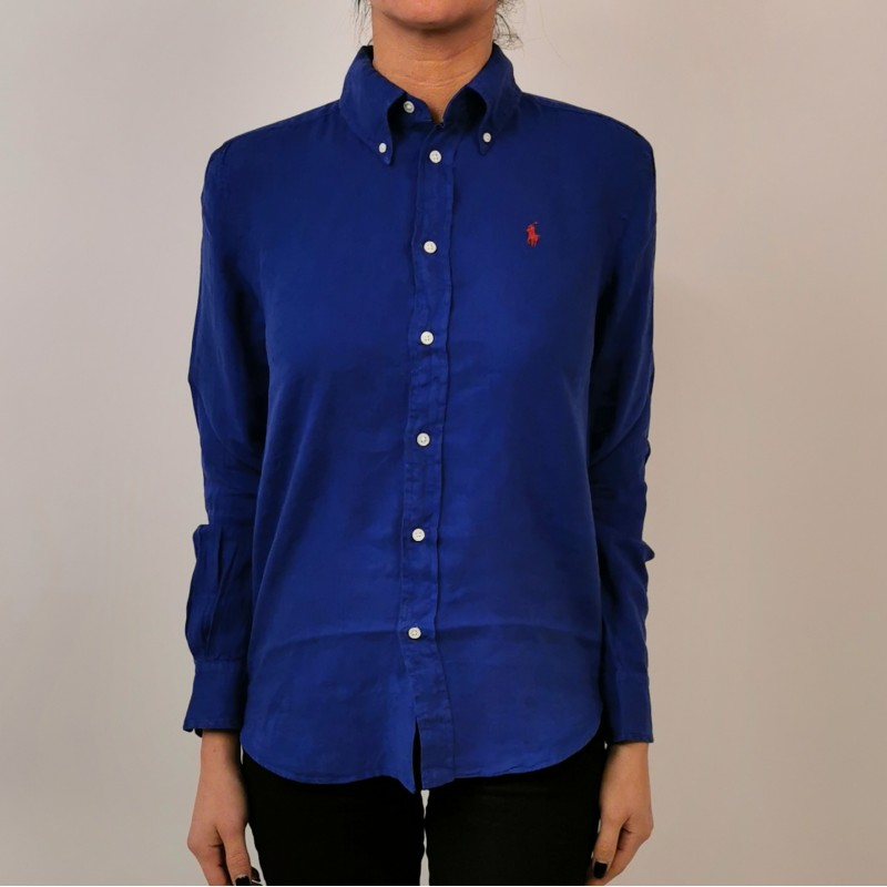 POLO RALPH LAUREN - Camicia in Lino con Logo - Royal
