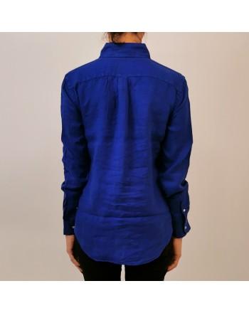 POLO RALPH LAUREN - Camicia in Lino con Logo - Royal