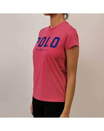 POLO RALPH LAUREN - T-Shirt in Cotone con Logo - Fucsia