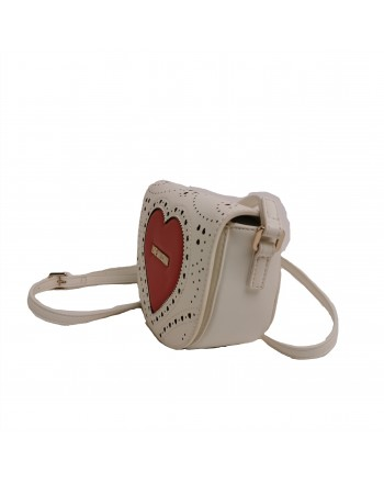 LOVE MOSCHINO -  Pounded shoulder heart bag - white