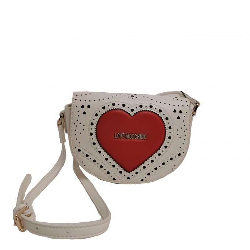 LOVE MOSCHINO -  Tracolla impunturata cuore - bianco
