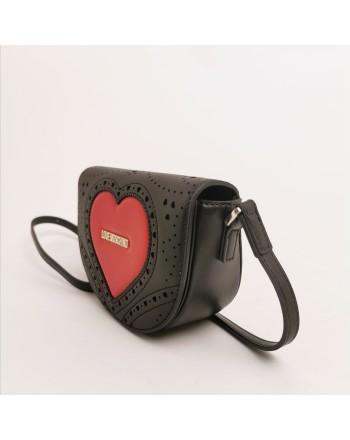 LOVE MOSCHINO -  Tracolla impunturata cuore - nero