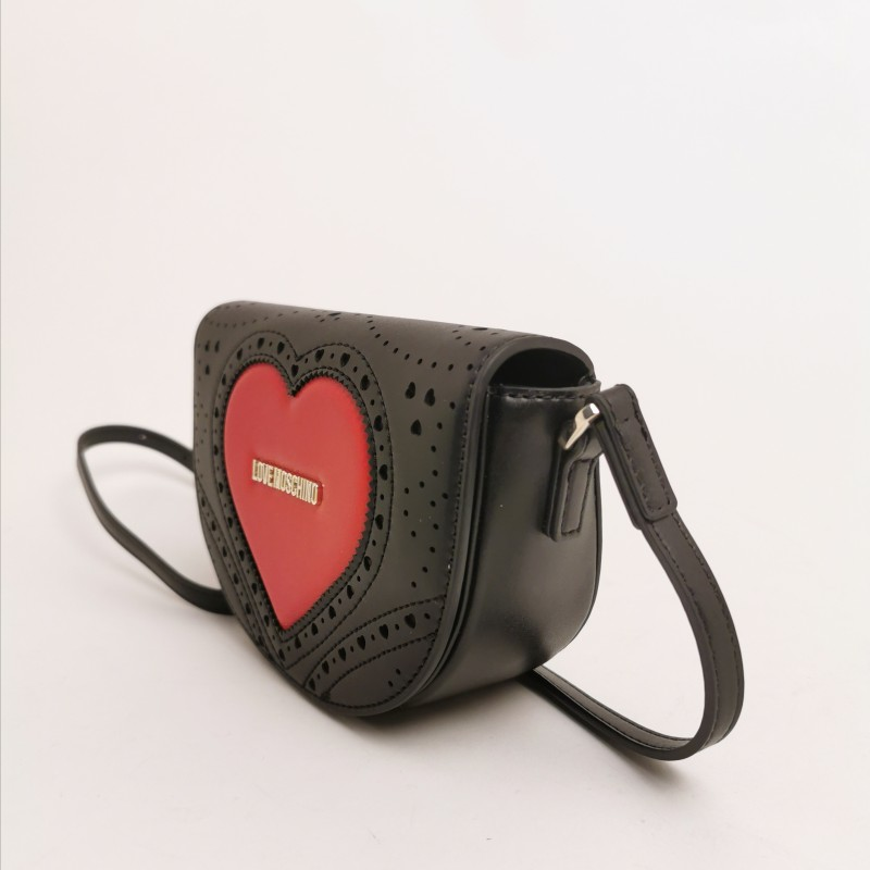 LOVE MOSCHINO -   Pounded shoulder heart bag - black