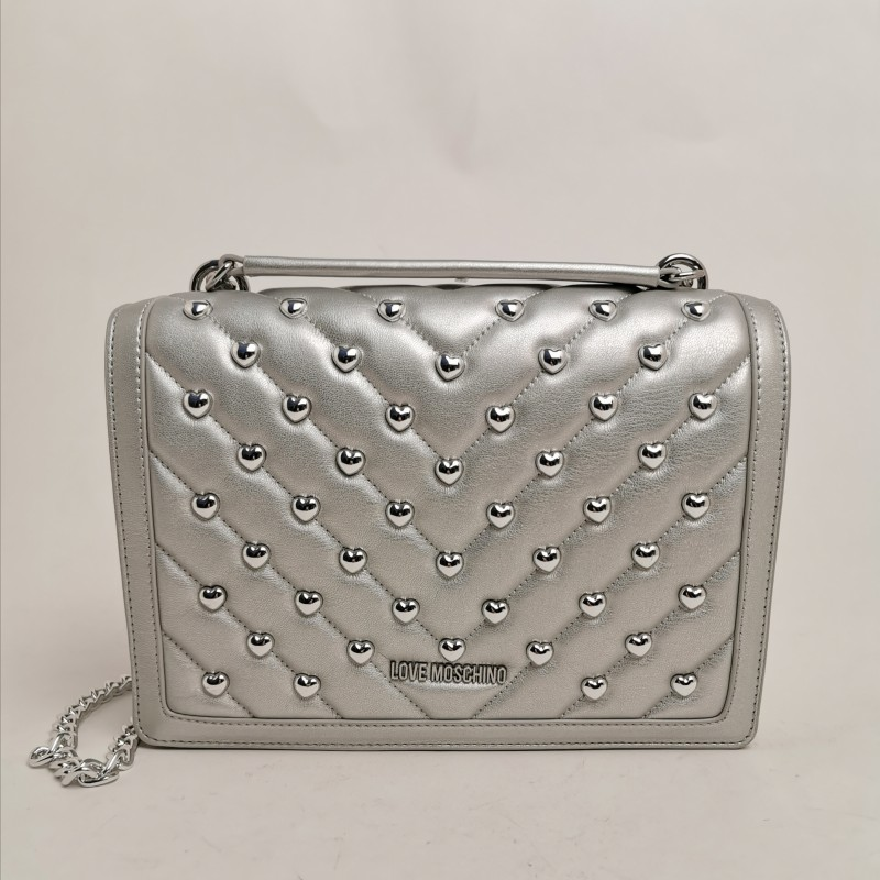 LOVE MOSCHINO -  Pounded shoulder bag - Silver color