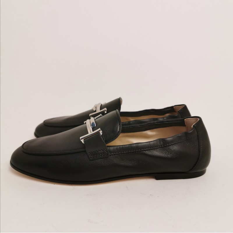 TOD'S - Leather Double T Loafers - Black