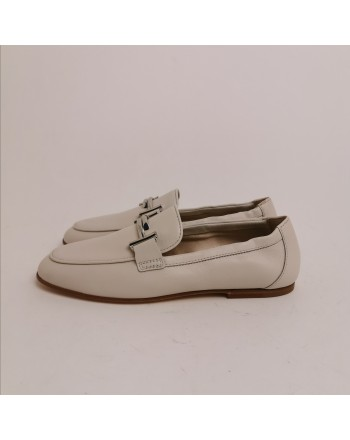 TOD'S - Leather Double T Loafers -  Chalk