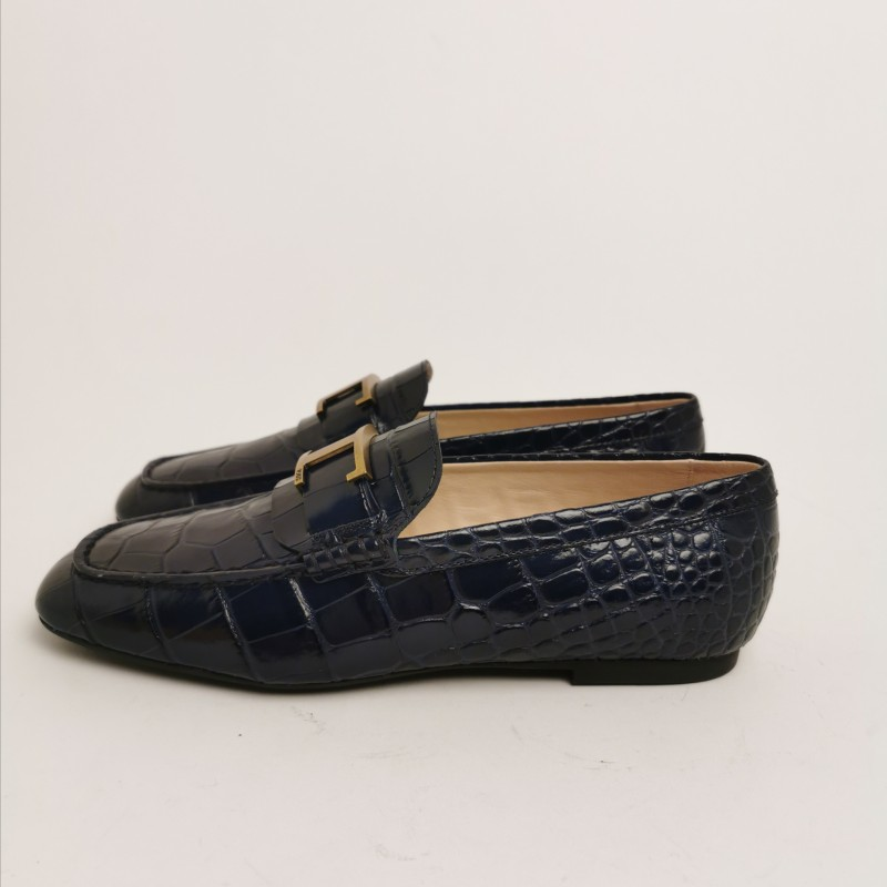 TODS- Leather Flat T Loafers - Galaxy