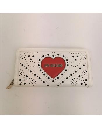 LOVE MOSCHINO -  Portafoglio impunturato con cuore - Bianco