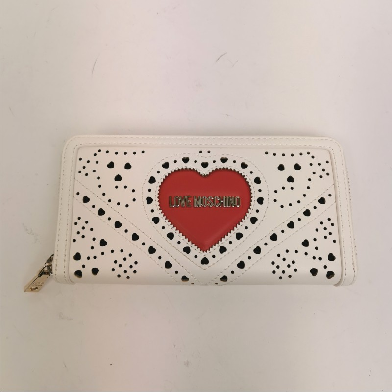 LOVE MOSCHINO -  Stitched eco leather with red heart wallet - white