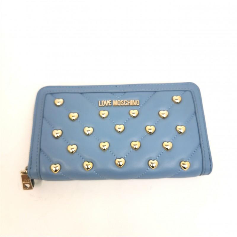 LOVE MOSCHINO -   Metallic heart studs wallet - Light Blue
