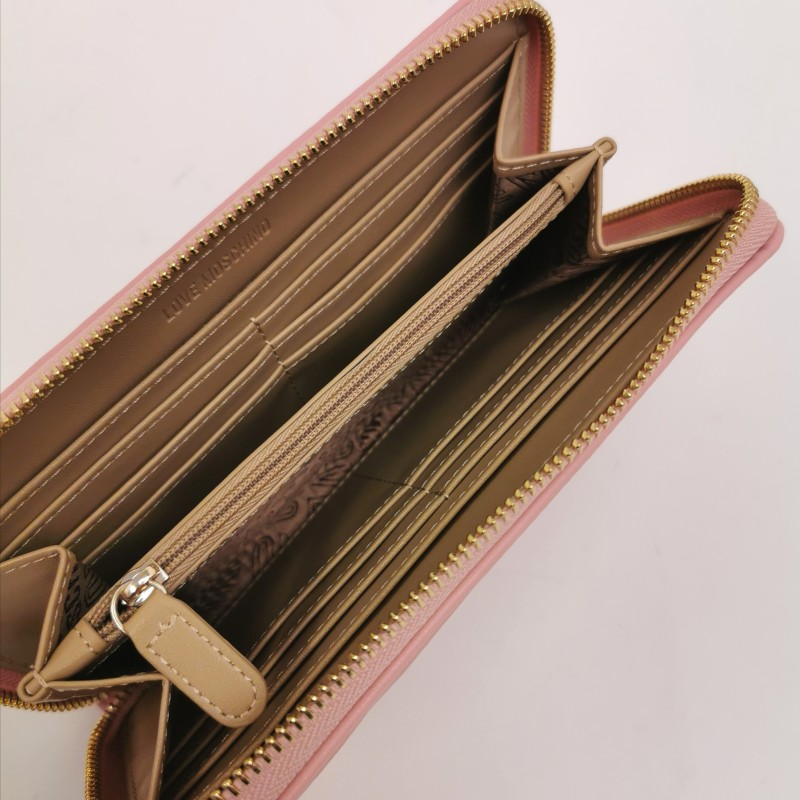 LOVE MOSCHINO -  Metallic heart studs wallet - Powder color