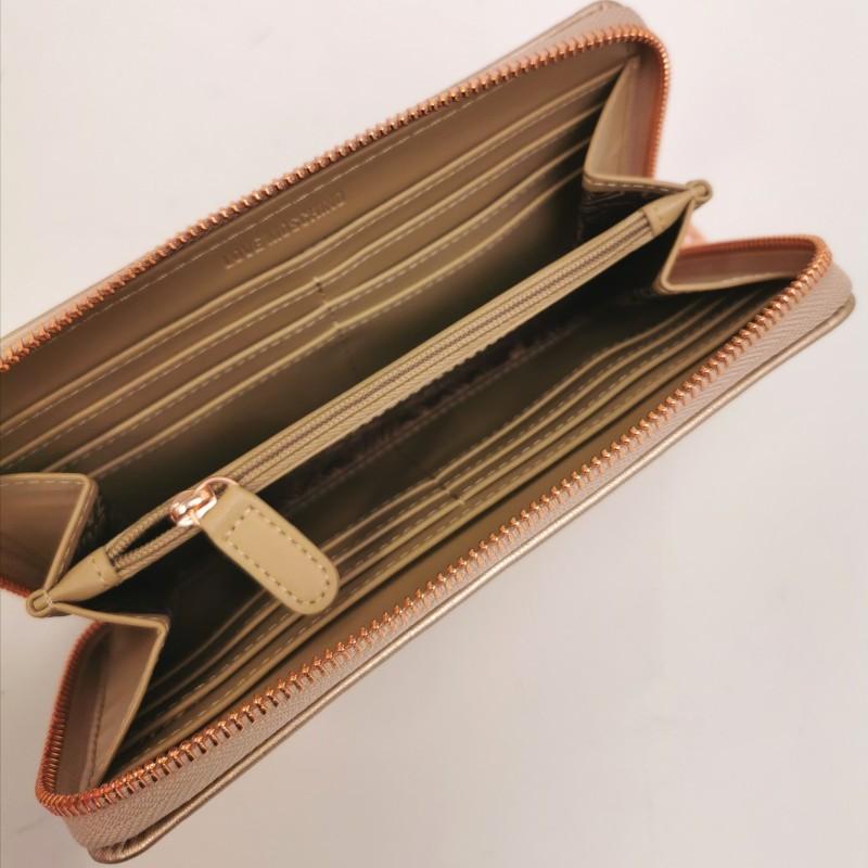 LOVE MOSCHINO -  Metallic heart studs wallet - Copper color