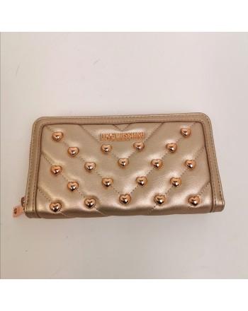 LOVE MOSCHINO -  Portafoglio con borchie a cuore - Rame