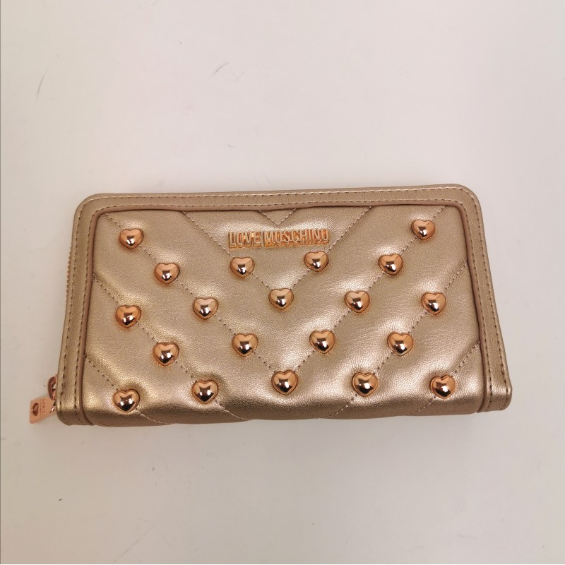 LOVE MOSCHINO -  Metallic heart studs wallet - Copper color