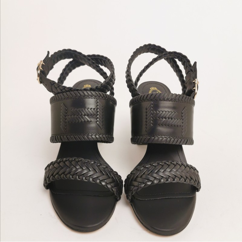 TOD'S - Leather Sandal with Side Buckle - Black