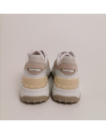 TOD'S - Sneakers in Pelle con T in Suede - Bianco