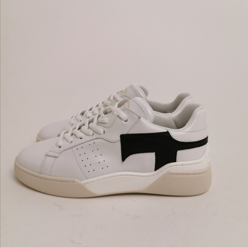 TOD'S - Leather Sneakers with Side T - White/Black