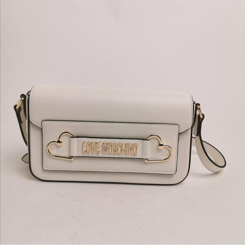 LOVE MOSCHINO - Shoulder bag with double metallic heart - white
