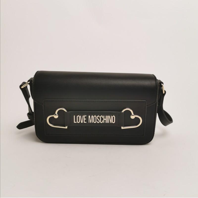 LOVE MOSCHINO - Borsa a tracolla con cuori metallici - nero