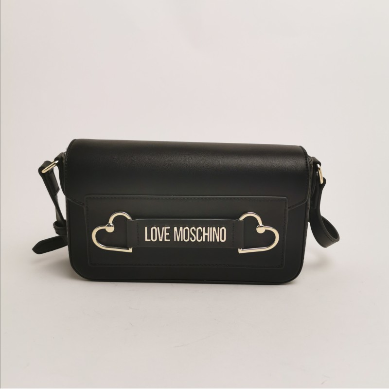 LOVE MOSCHINO - Shoulder bag with double metallic heart - Black