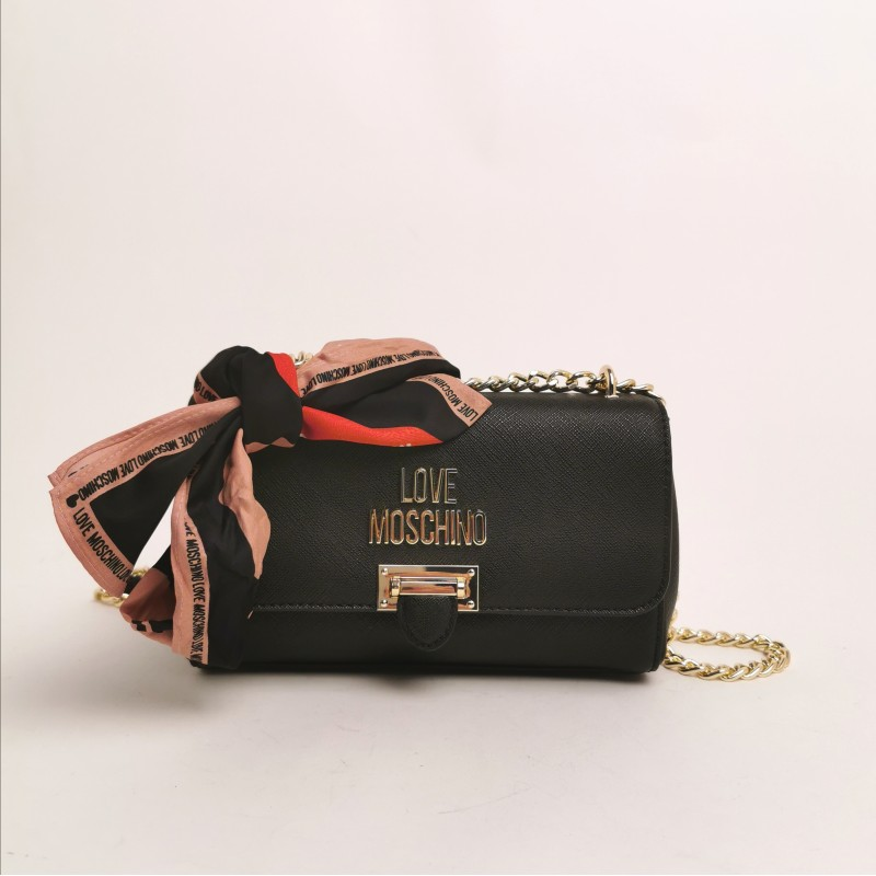 LOVE MOSCHINO - Shoulder Bag with scarf - Black