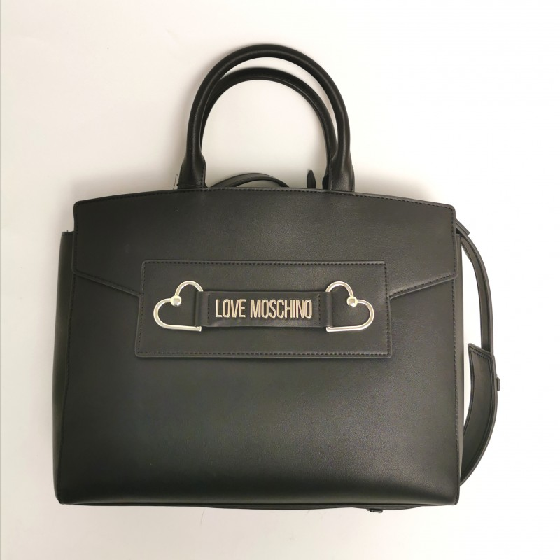 LOVE MOSCHINO - Briefcase with double heart - Black