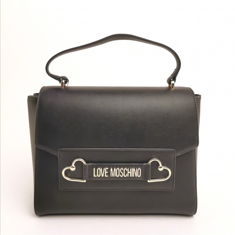 LOVE MOSCHINO - Briefcase with shoulder strap and double heart - Black