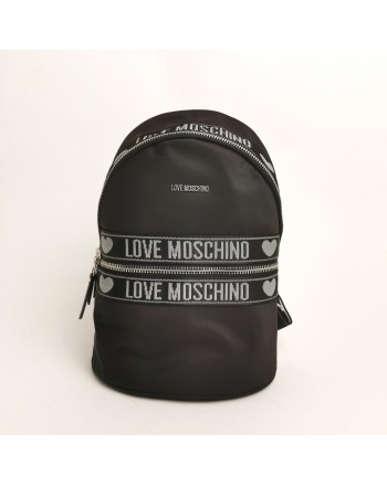 LOVE MOSCHINO - Tech fabric Backpack with front Pocket - Black