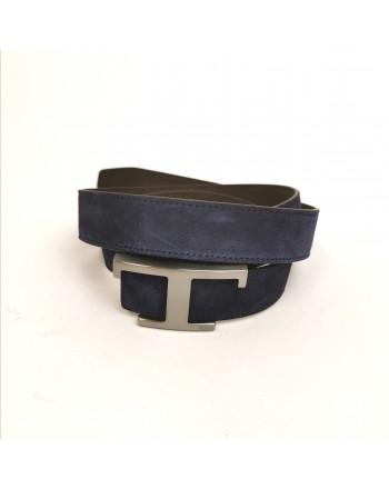 TOD'S - Cintura in Pelle Scamosciata con T Metallica - Blu