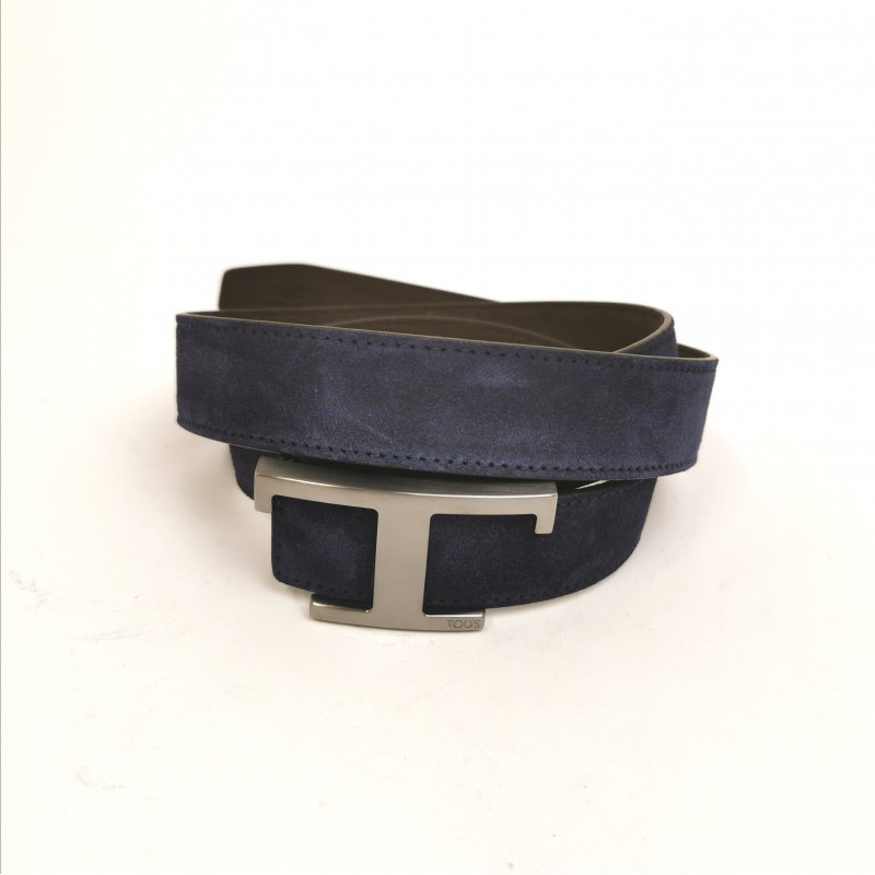 TOD'S - Suede Belt with Metallic T - Blue