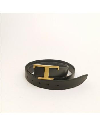 TOD'S - Cintura in Pelle con T Metallica - Nero