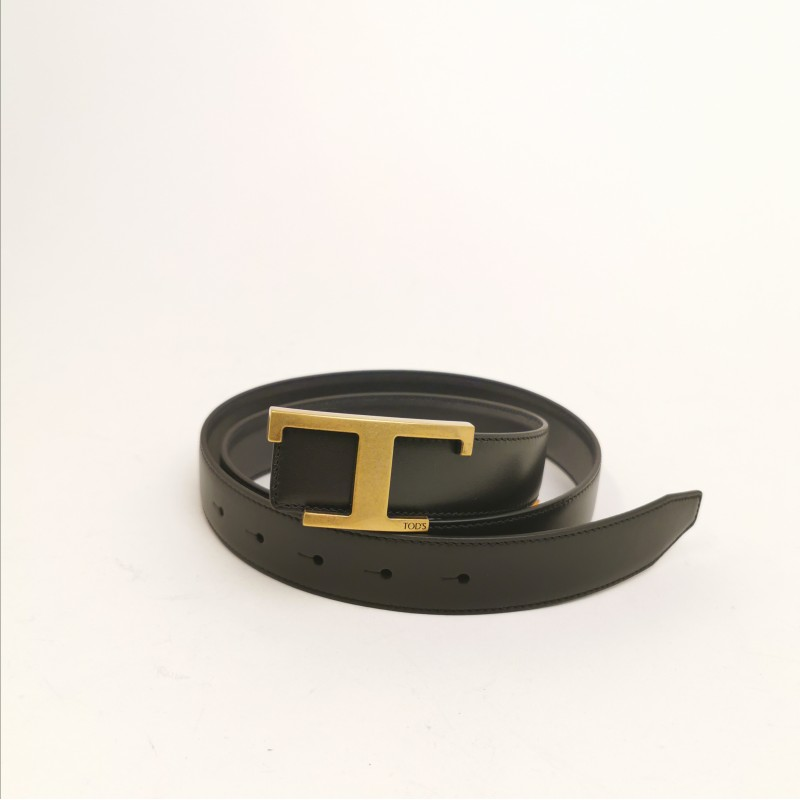 TOD'S - Leather Belt with Metallic T - Black