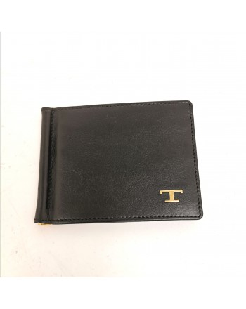 TOD'S - Leather Metallic T Wallet with Card Holder- Black