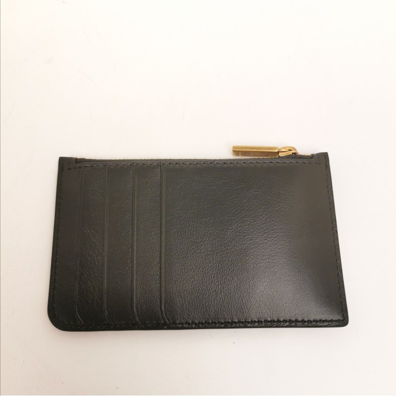 TOD'S - Leather Card Holder with coin Pocket - Black