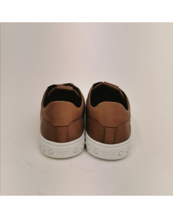 TOD'S - Leather Sneakers with T - Dark Camel