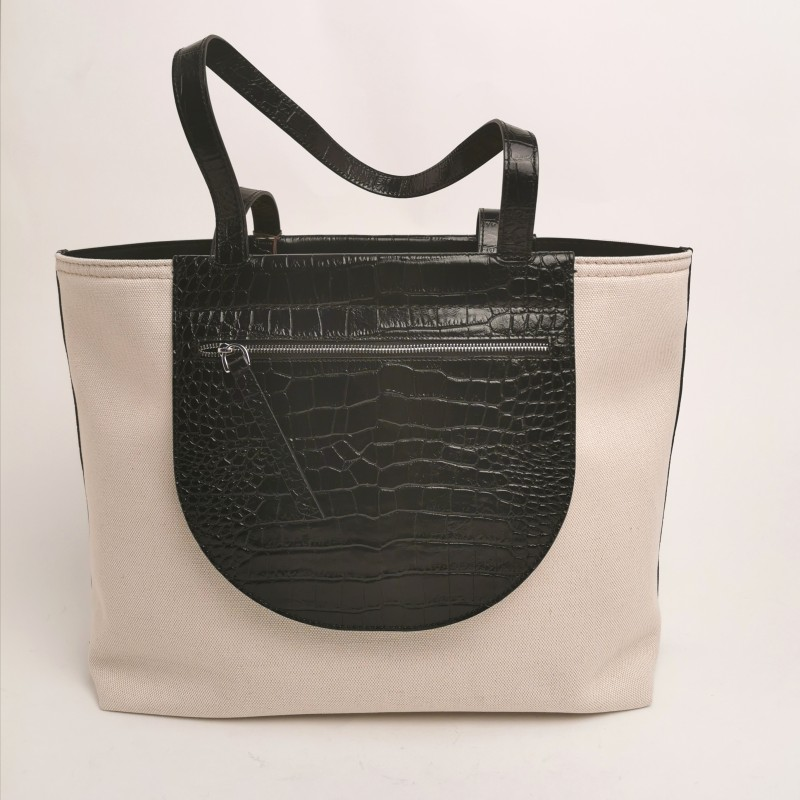 TOD'S - Leather and fabric Shopping Bag  - Marble/Black