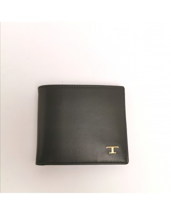 TOD'S - Leather Metallic T Wallet - Black